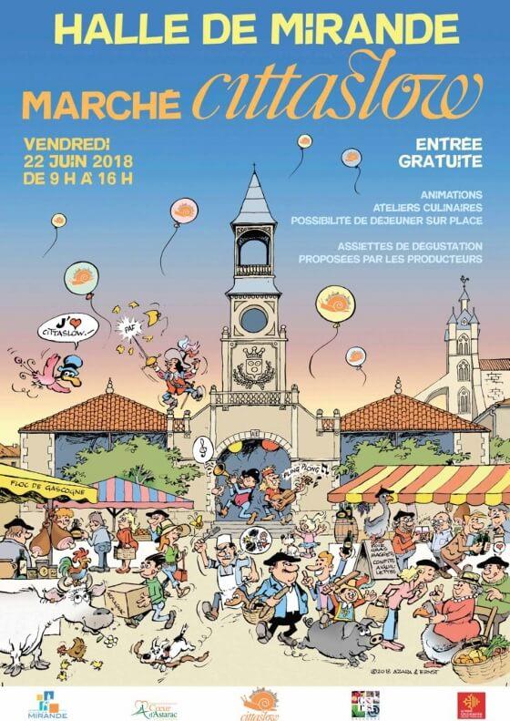 Affiche du marché Cittaslow à Mirande, Station Verte du Gers, ce vendredi 22 juin lors des Rencontres Internationales Cittaslow